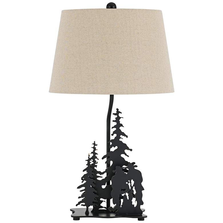 Cowboys in Forest Dark Bronze Laser-Cut Metal Table Lamp
