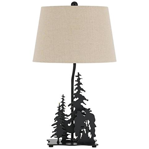 Cowboy Dark Bronze 3-D Diorama Laser-Cut Metal Table Lamp