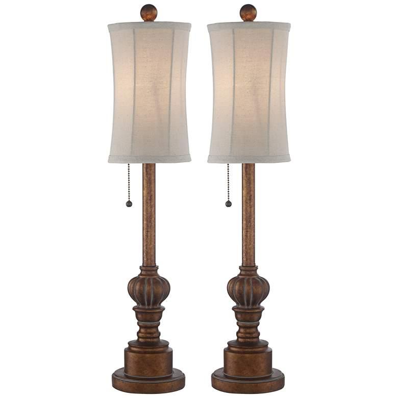 """Bertie 28"""" High Tall Buffet Table Lamps Set"""