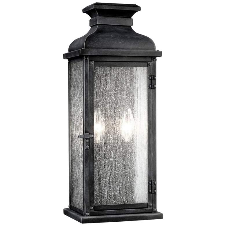 """Feiss Pediment 18 1/4"""" High Zinc 2-Light Outdoor Wall Light"""