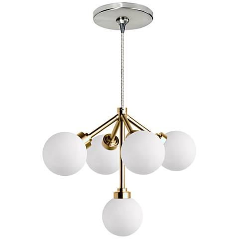 "Mara 12 1/4""W Nickel and Brass LED Freejack Pendant Light"