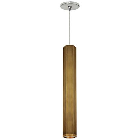 "Blok 3 1/4""W Aged Brass and Nickel LED Freejack Mini Pendant"
