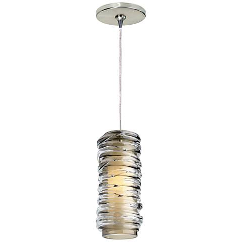 "Leigh 3 1/4""W Smoke Glass LED Freejack Mini Pendant"