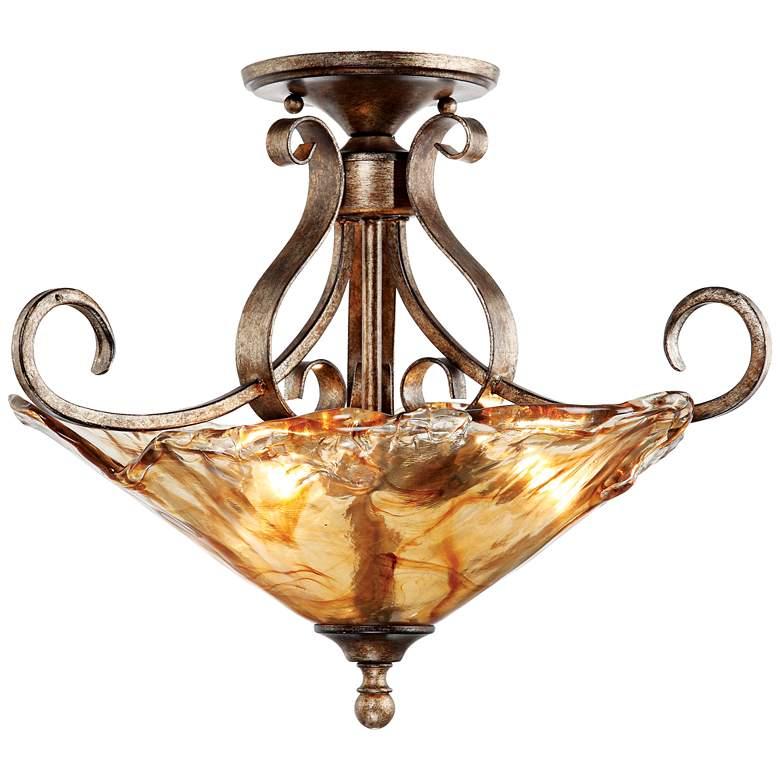 """Amber Scroll 20 1/4"""" Wide Art Glass Ceiling Light"""