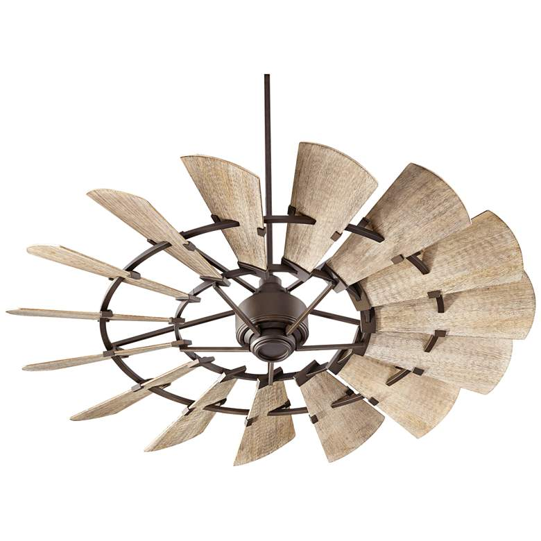 """60"""" Quorum Windmill Oiled Bronze Damp-Rated Ceiling Fan"""