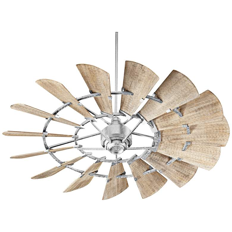 """60"""" Quorum Windmill Galvanized Damp-Rated Ceiling Fan"""