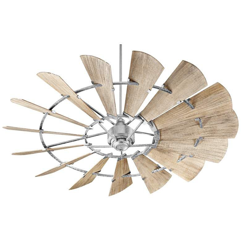 """72"""" Quorum Windmill Galvanized Damp-Rated Ceiling Fan"""