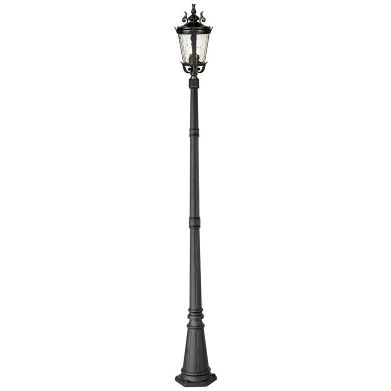 "Casa Marseille 99 3/4""H Black Post Light with Flat Base Pole"