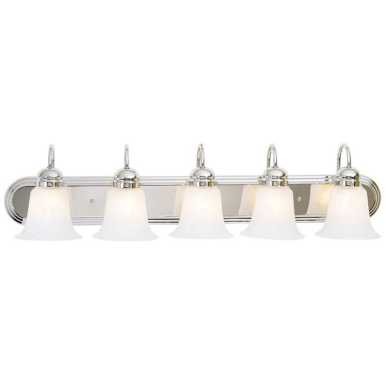 "Seneca 36"" Wide Chrome Marbleized Glass 5-Light Bath Light"