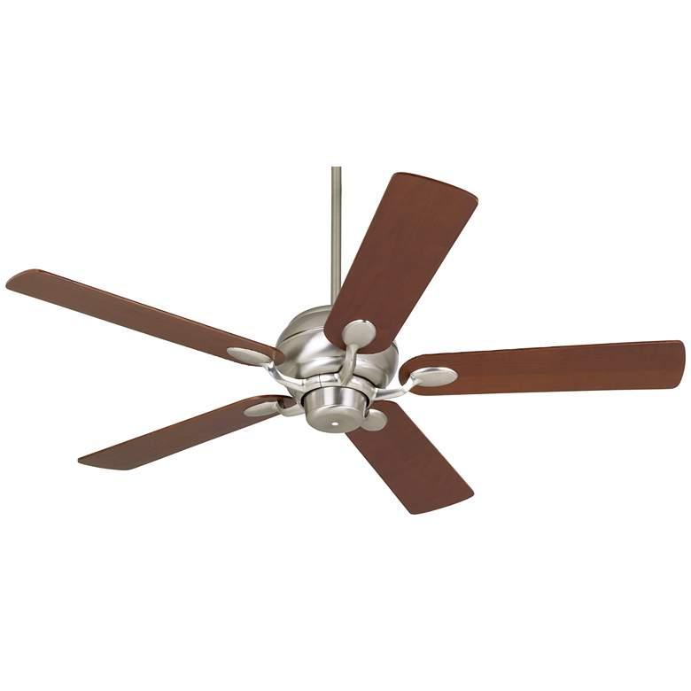 "52"" Casa Optima Brushed Nickel Teak Blades Ceiling Fan"