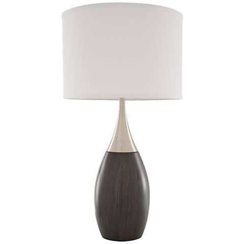 Nova Pure Ash Gray Woodgrain Teardrop Table Lamp