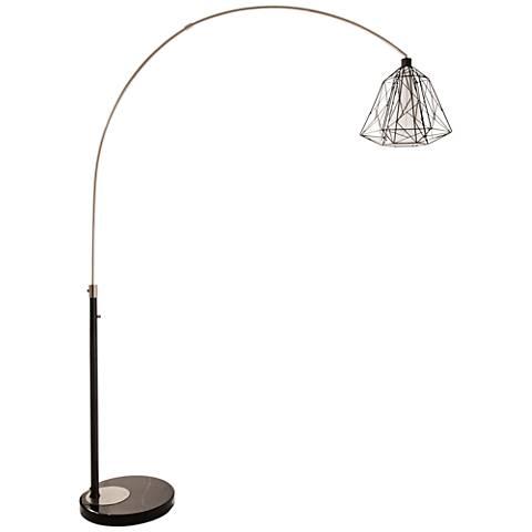Nova Nest Brushed Nickel Steel Arc Floor Lamp