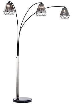 Silver nova arc lamps floor lamps lamps plus nova polygon brushed nickel 3 light steel arc floor lamp aloadofball Gallery