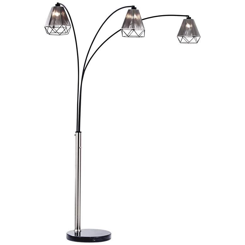 Nova Polygon Brushed Nickel 3-Light Steel Arc Floor Lamp