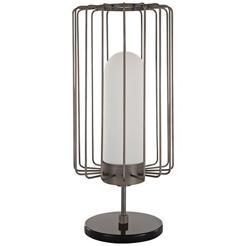 Nova Watson Antique Nickel Modern Cage Table Lamp