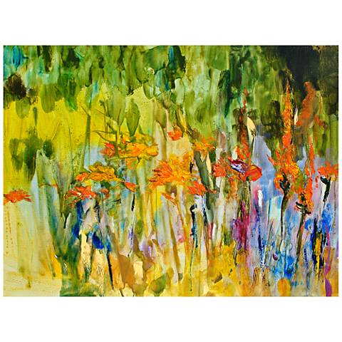 """Orange Lily Abstract 40""""W Indoor-Outdoor Canvas Wall Art"""