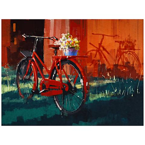"Red Bike 40""W All-Season Indoor Outdoor Canvas Wall Art"