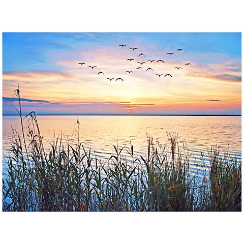 "Lake Sunset 40"" Wide All-Season Outdoor Canvas Wall Art"