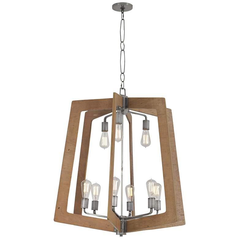 """Varaluz Lofty 30""""W Wheat Wood and Steel 9-Light Chandelier"""
