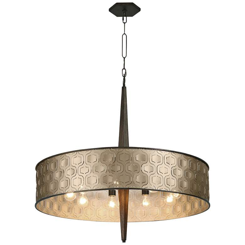 "Varaluz Iconic 36"" Wide Champagne Mist 9-Light Pendant"