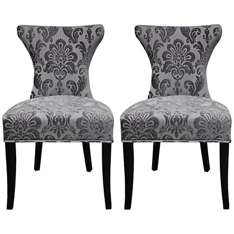 Cosmo Gray Fan Damask Fabric Side Chair Set of 2
