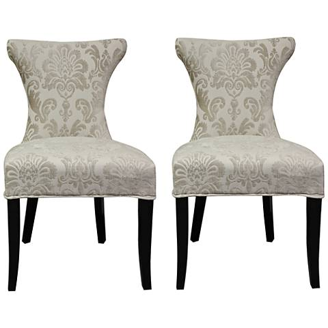 Cosmo Cream Fan Damask Fabric Side Chair Set of 2