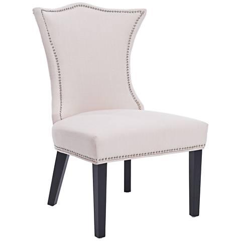 Linda Ivory Stallion Linen Fabric Dining Chair