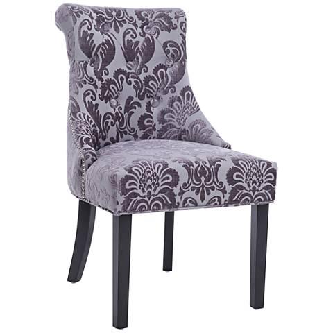 Madison Gray Fan Damask Fabric Dining Chair