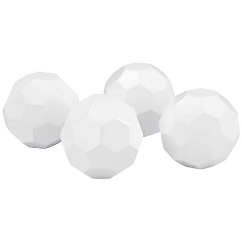 Onyx Gloss White Faceted Orb Set of 4