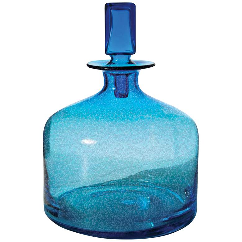 "Atlantis Small Pool Blue 12"" High Glass Decanter"