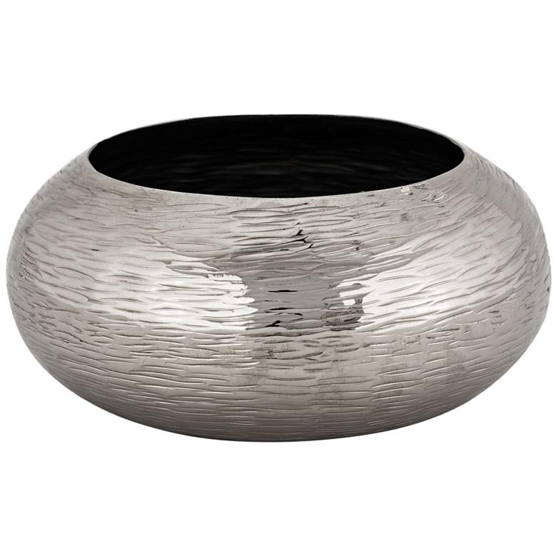 Finesse Small Polished Nickel Hammered Oblong Bowl