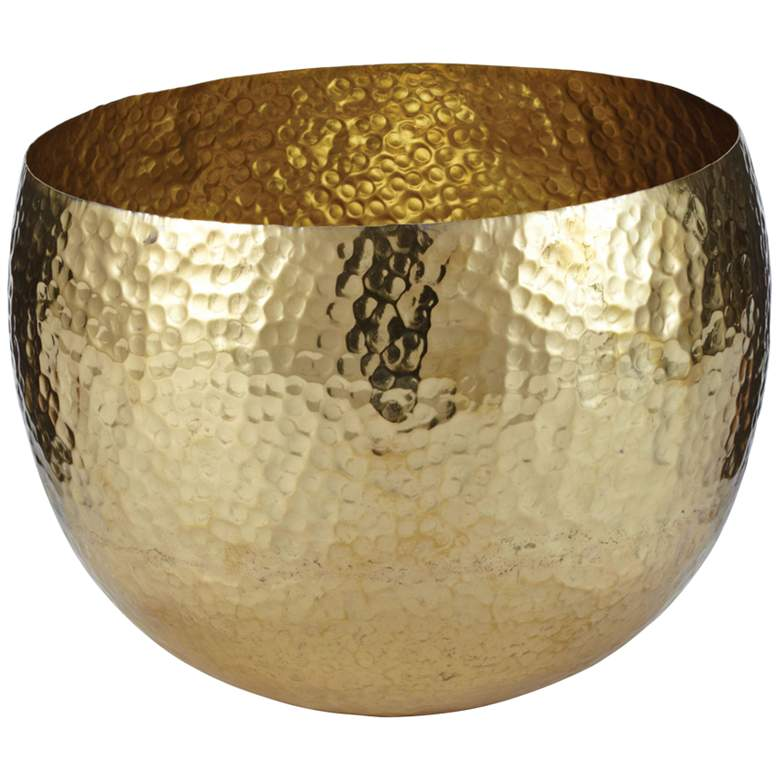 "Medallion 10"" Wide Gold Hammered Brass Bowl"