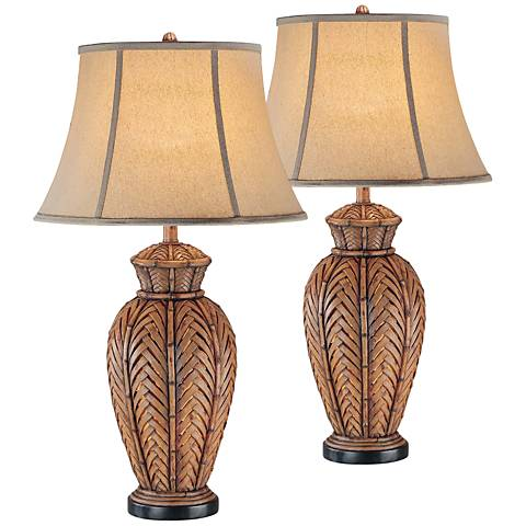 Onairo Wicker Night Light Table Lamp Set of 2