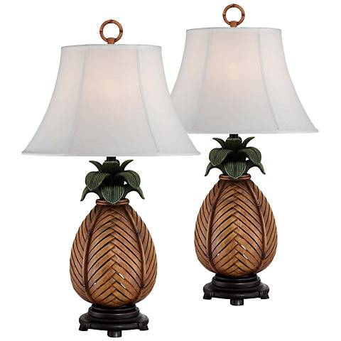 Mahia Pineapple Night Light Table Lamp Set of 2