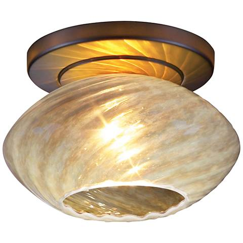 "Pandora 5 3/4""W Opaline Glass Bronze LED Ceiling Light"