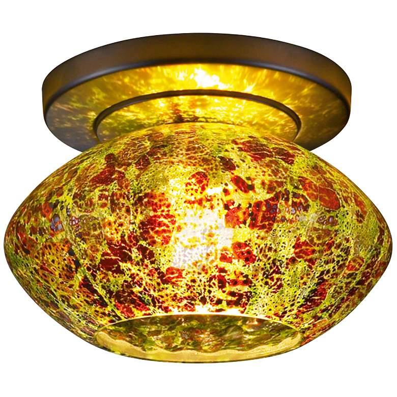 """Pandora 5 3/4""""W Emerald Glass Bronze LED Ceiling Light"""
