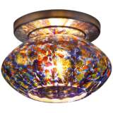 "Pandora 5 3/4""W Sapphire Glass Bronze LED Ceiling Light"