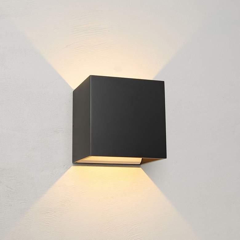 "Bruck QB 4 1/2""H Black LED Wall Sconce"