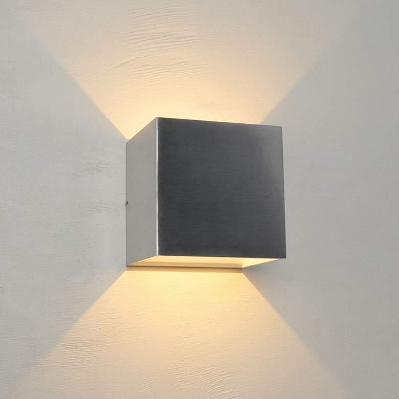 "Bruck QB 4 1/2"" High Brushed Chrome LED Wall Sconce"