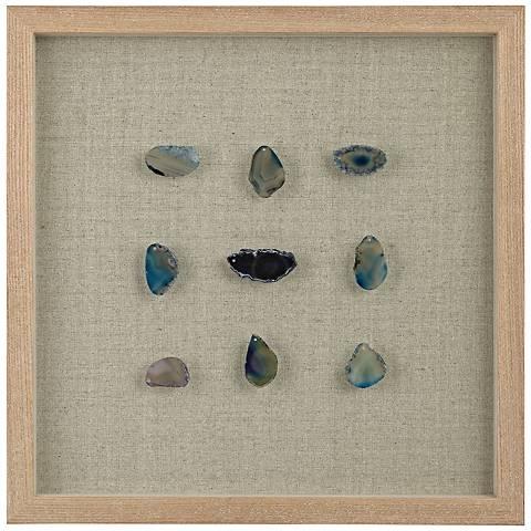 """Paraiba Blue Agate 17"""" Square Shadow Box Wall Art"""