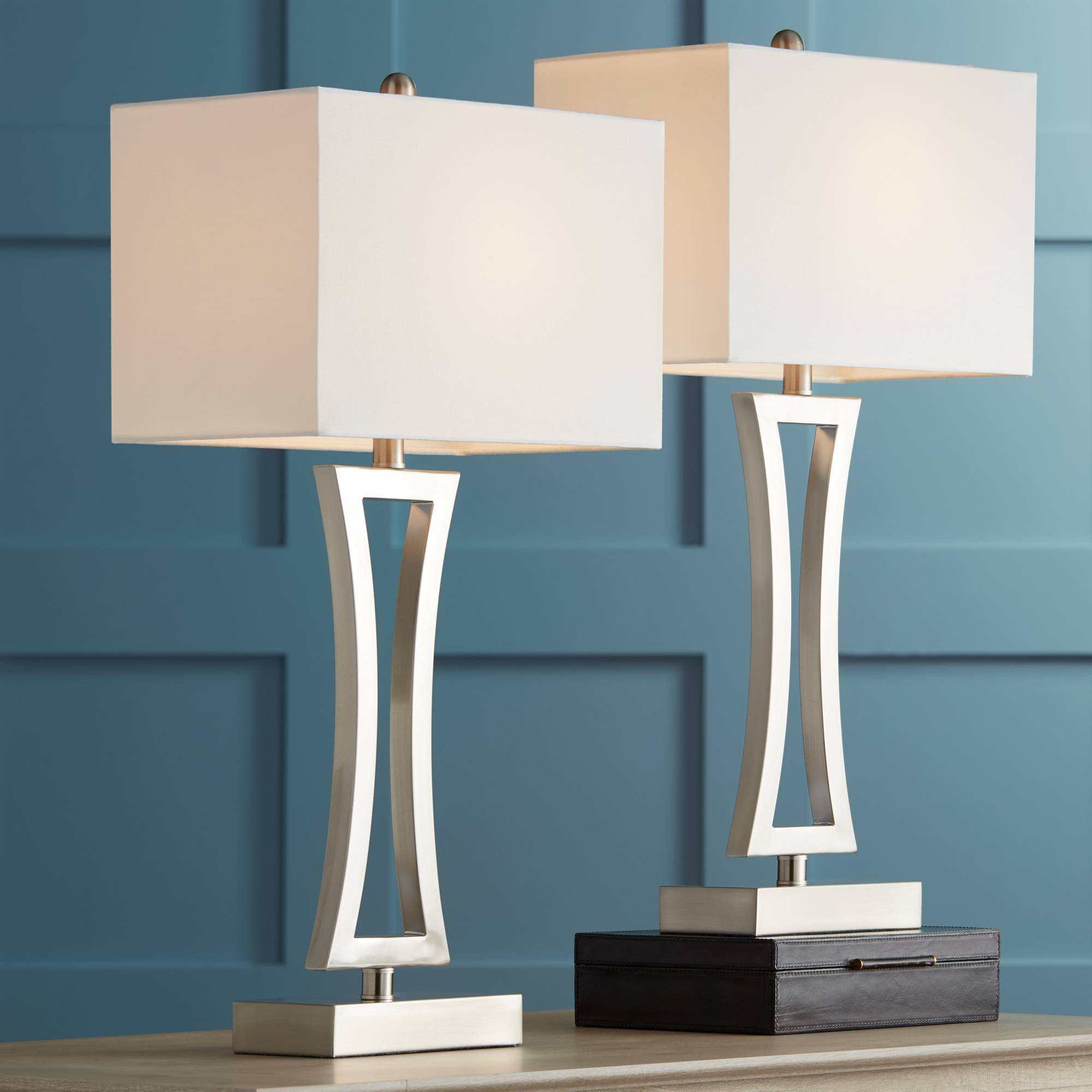 Details about Modern Table Lamps Set of 2 Brushed Steel for Living Room  Family Bedroom Bedside