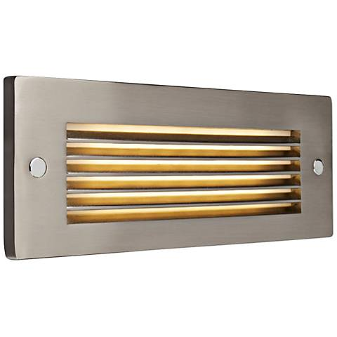 "Step 8 3/4""W Brushed Louver Nickel Outdoor LED Step Light"