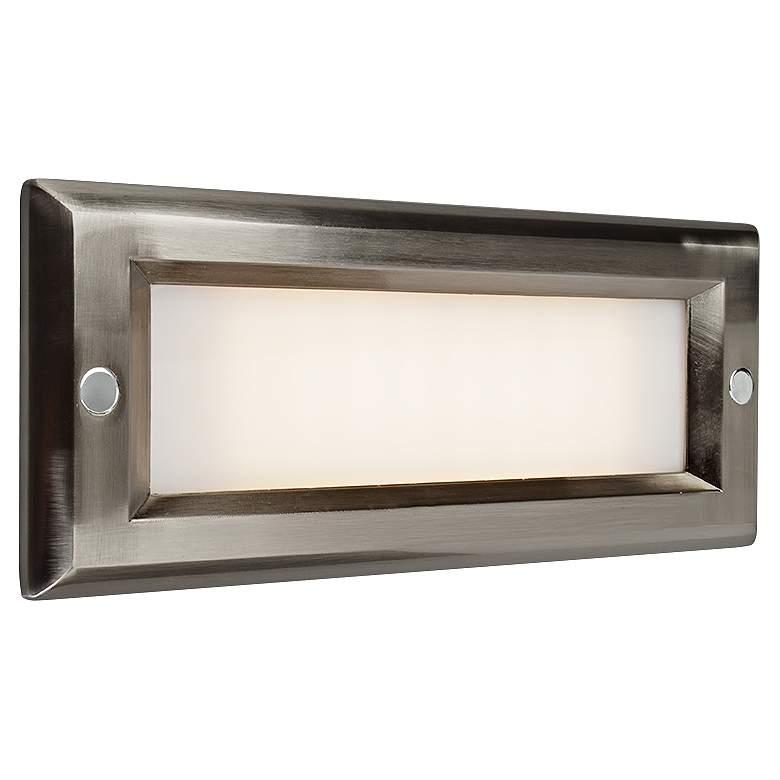 "Step 8 3/4""W Brushed Nickel Opal Lens Outdoor LED Step Light"