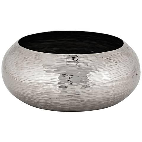 Finesse Large Polished Nickel Hammered Oblong Bowl
