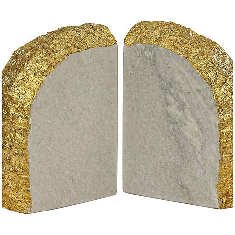 Glace White and Gold Bookends Set of 2