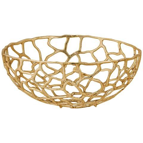 Corvallis Large Gold Metal Freeform Bowl