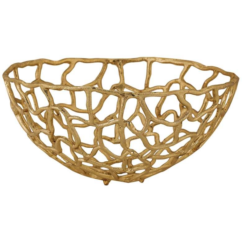 """Corvallis 16"""" Wide Medium Gold Metal Freeform Bowl"""
