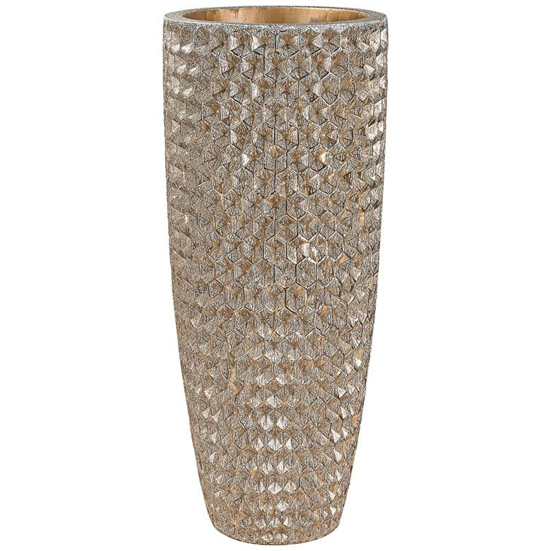 "Tetra Gold 41"" High Geometric Textured Large Modern Vase"