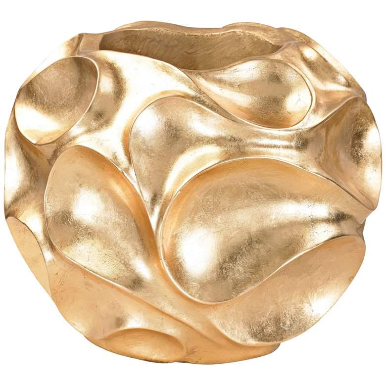 "Genesis 15 3/4"" Wide Gold Wave Vase"