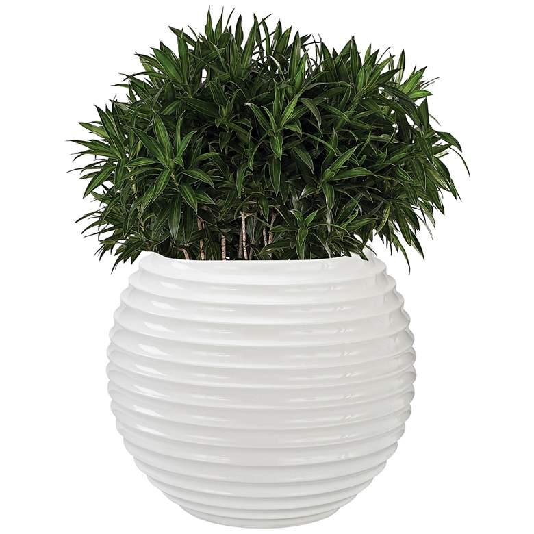"""Jaya 19"""" Wide Gloss White Planter Pot"""